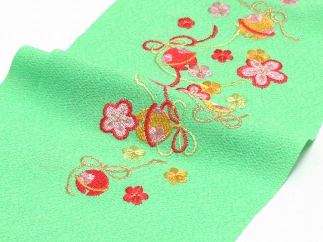 画像3: 七五三の着物に 女の子用 刺繍入りの半衿(合繊)【黄緑 梅に鈴】