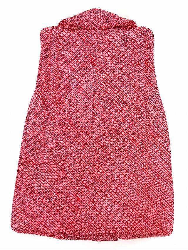 画像2: 七五三 3歳 女の子用 総絞りの被布コート(正絹)【赤 鹿の子】