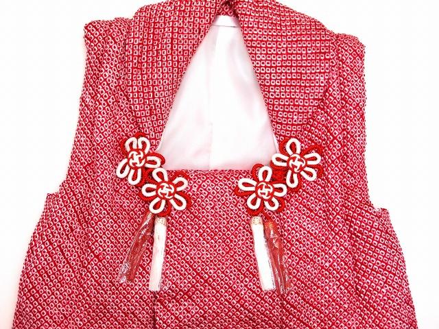 画像3: 七五三 3歳 女の子用 総絞りの被布コート(正絹)【赤 鹿の子】
