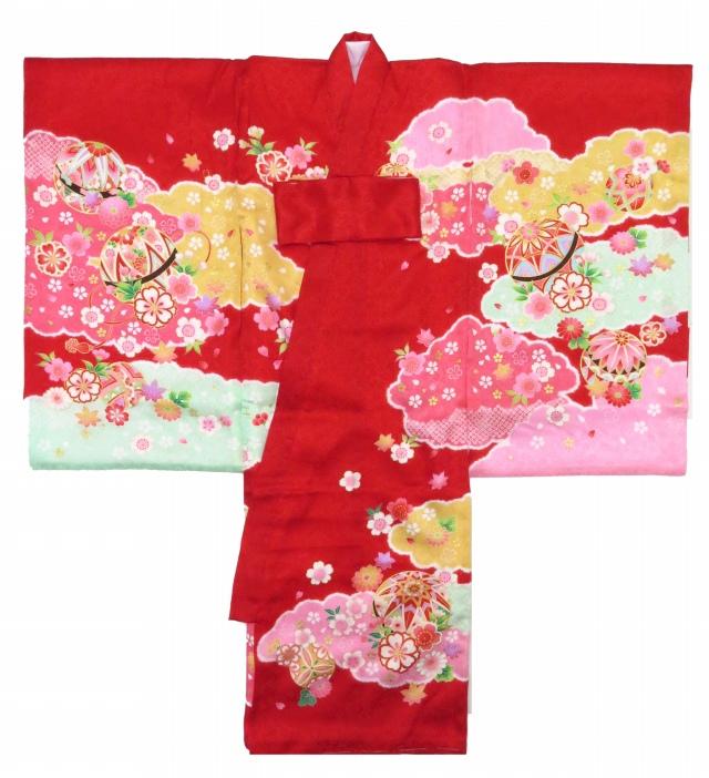 画像2: お宮参り 着物 女の子 日本製 正絹 金駒刺繍入り 赤ちゃんのお祝い着 産着 初着【赤 鞠に雲】