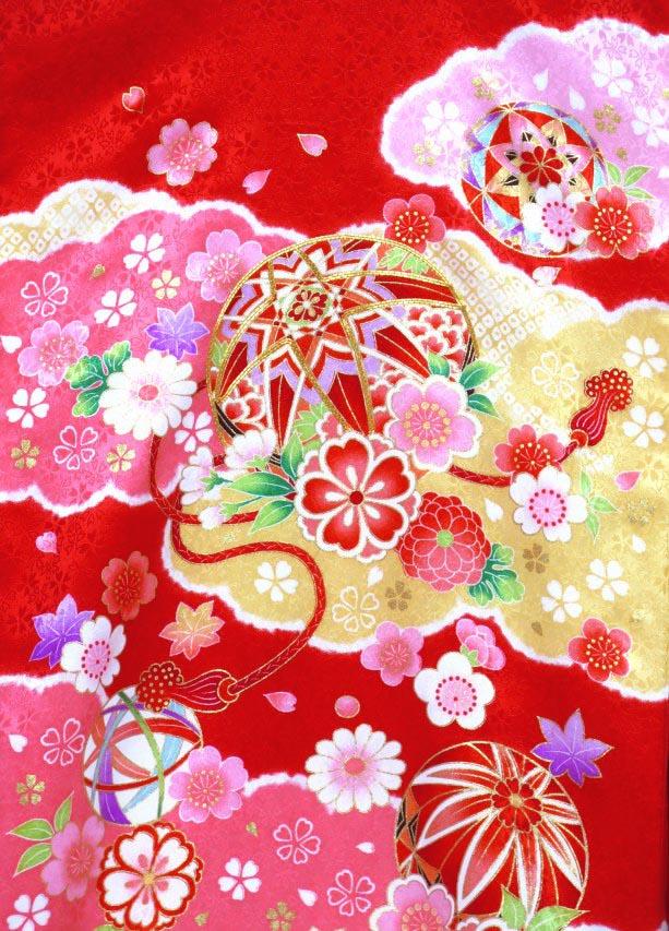 画像3: お宮参り 着物 女の子 日本製 正絹 金駒刺繍入り 赤ちゃんのお祝い着 産着 初着【赤 鞠に雲】