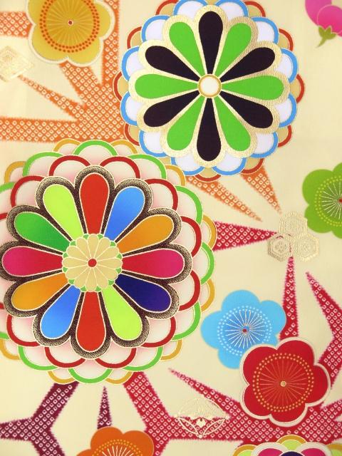 画像3: 卒業式袴セット 短尺 古典柄の小振袖(二尺袖の着物)【クリーム系 菊に梅】と無地袴「エンジ」セット