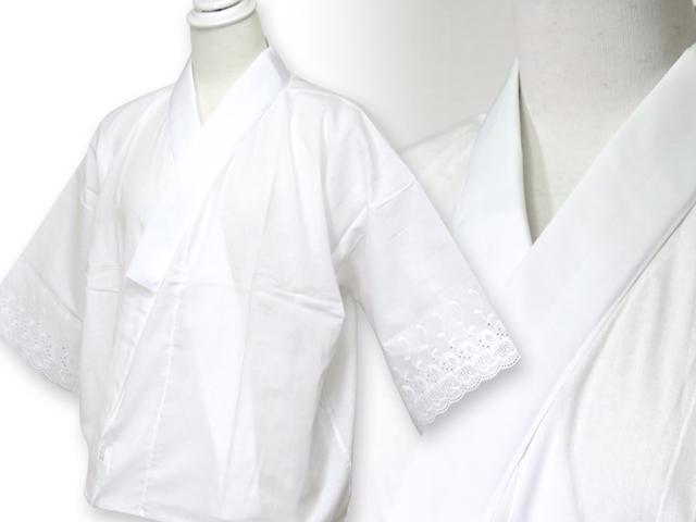 画像2: 【肌着 着物用インナー】 スカイホワイト 和装肌襦袢(袖レース、半衿付き) M/L【白】
