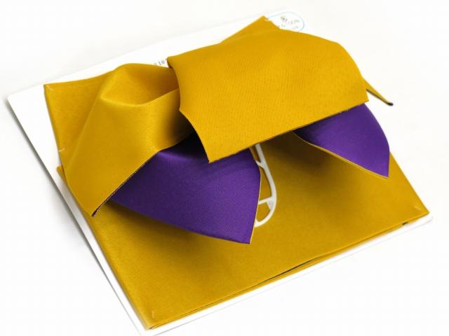 画像2: 女性用浴衣帯 みやこ結び風の作り帯 日本製【濃い黄色×紫】