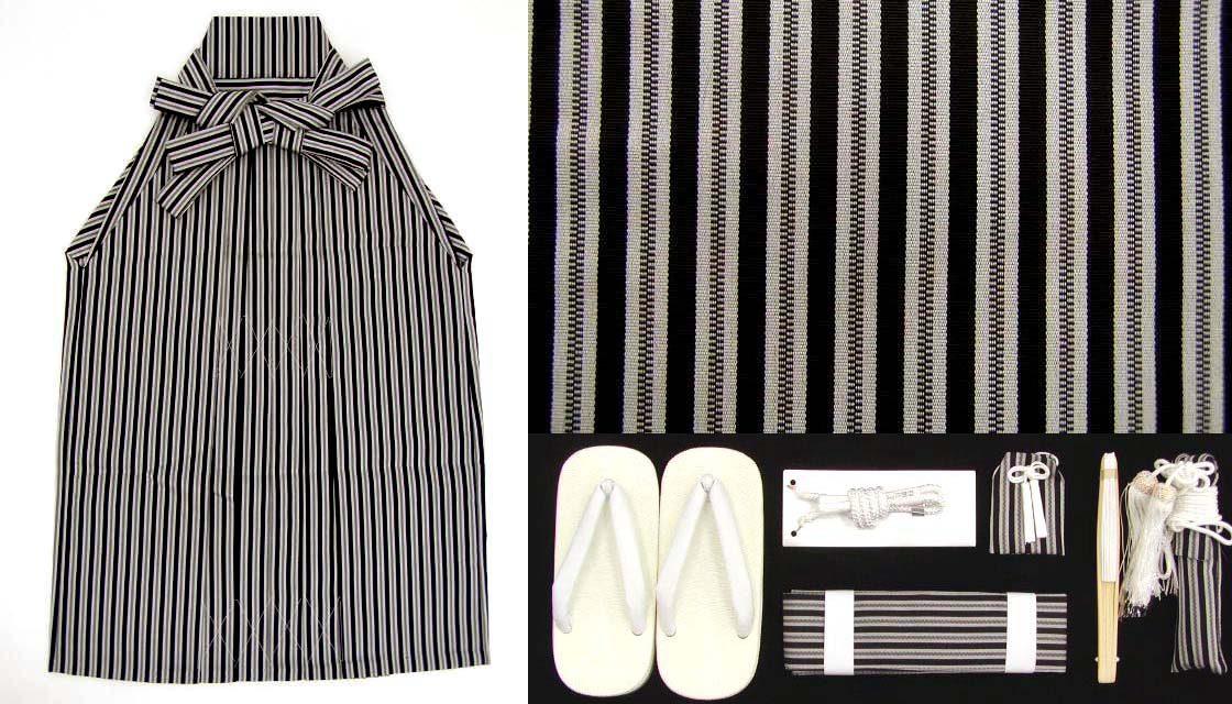 画像5: 七五三着物 五歳男の子用黒紋付き(正絹)と縞袴のフルセット【黒 石持、子持ち縞袴】