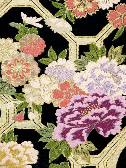 画像3: 成人式 お正月に 振袖用袋帯(お仕立て上がり)【黒 牡丹に亀甲】