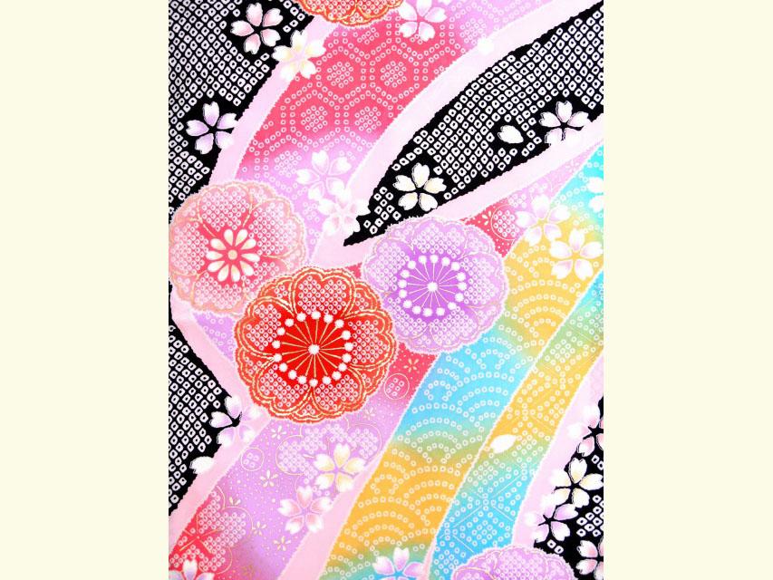 画像4: 七五三 7歳 女の子 絵羽柄の子供着物(正絹)【黒 桜に熨斗】