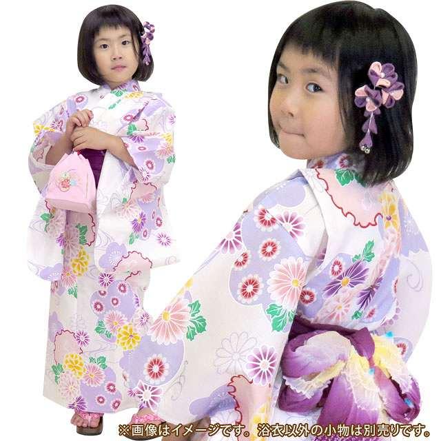 画像3: 子供浴衣 京都室町st.オリジナル 古典柄のこども浴衣 100サイズ【生成り、薄紫 系菊と雪輪】