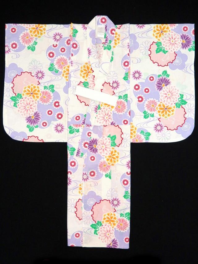 画像4: 子供浴衣 京都室町st.オリジナル 古典柄のこども浴衣 100サイズ【生成り、薄紫 系菊と雪輪】