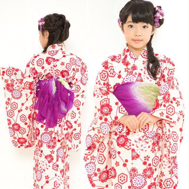 画像4: オリジナル浴衣 子供用 古典柄の女の子浴衣 110cm【生成り・赤系 古典柄】