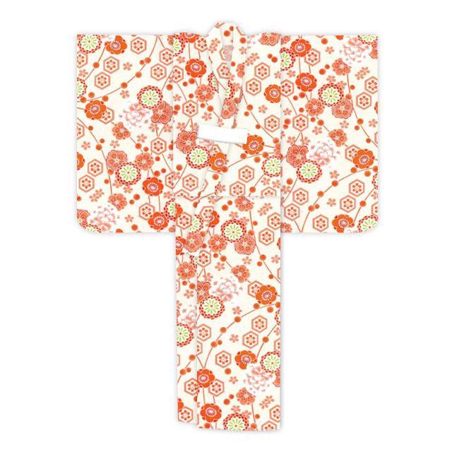 画像5: オリジナル浴衣 子供用 古典柄の女の子浴衣 110cm【生成り・オレンジ系 古典柄】