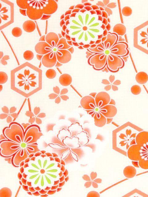 画像2: オリジナル浴衣 子供用 古典柄の女の子浴衣 110cm【生成り・オレンジ系 古典柄】