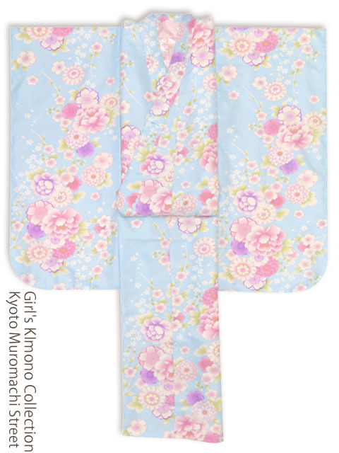 画像2: <訳ありセール>卒業式に 小学生の女の子 総柄の着物(ジュニア用振袖) 150cm【水色 牡丹と菊に桜】 ※襦袢付き