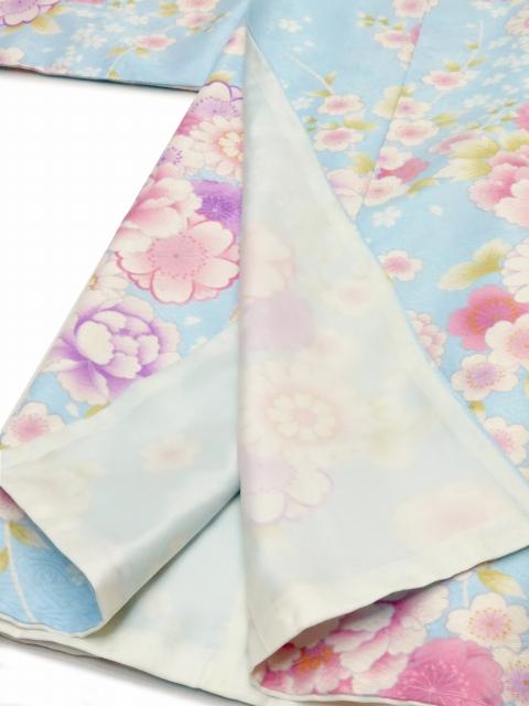 画像4: <訳ありセール>卒業式に 小学生の女の子 総柄の着物(ジュニア用振袖) 150cm【水色 牡丹と菊に桜】 ※襦袢付き