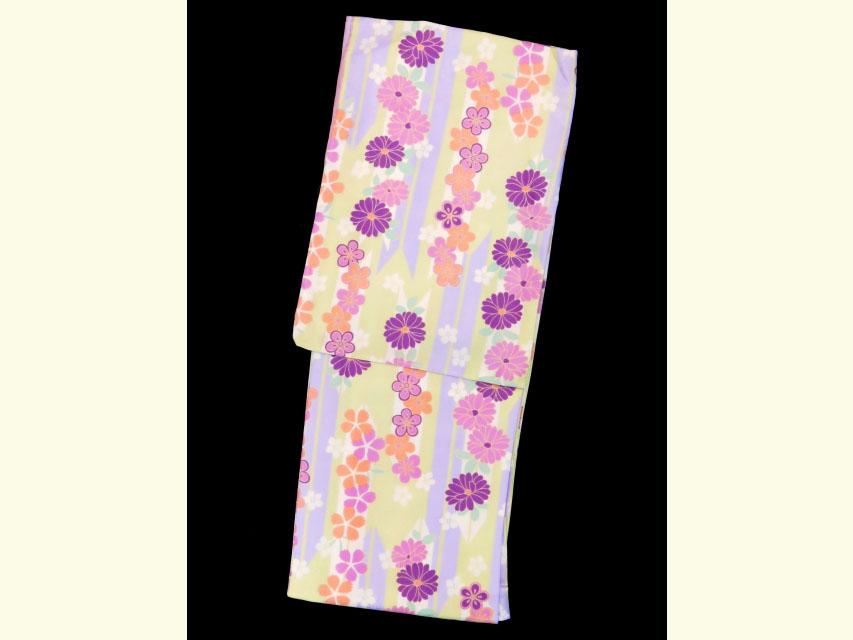画像2: 卒業式 袴セット RKブランドの小紋の着物と【淡黄緑&紫、矢羽根に花】シンプルな無地袴「ローズ」のセット
