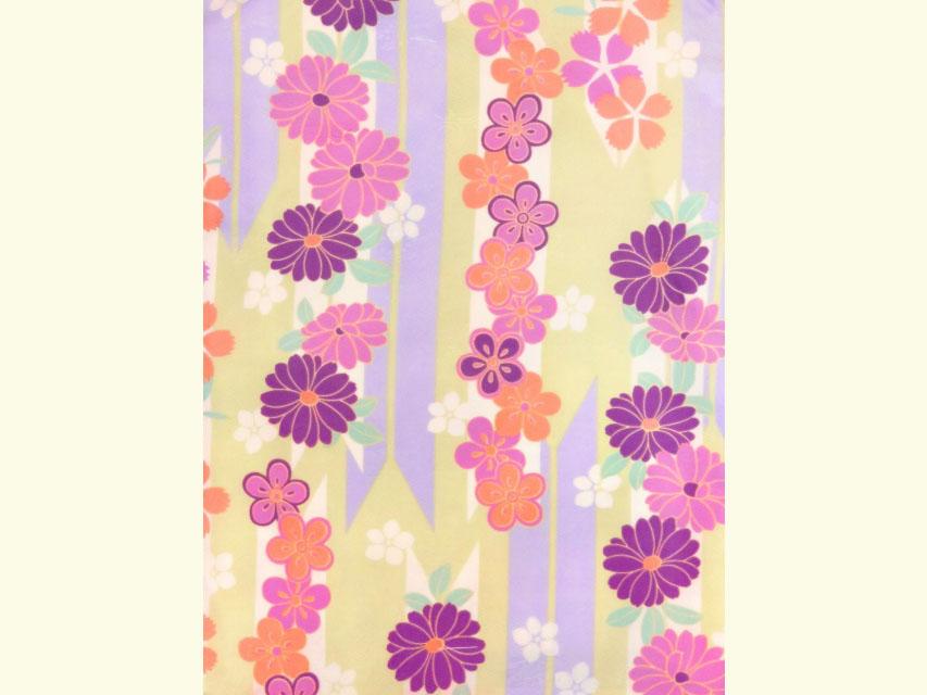 画像3: 卒業式 袴セット RKブランドの小紋の着物と【淡黄緑&紫、矢羽根に花】シンプルな無地袴「ローズ」のセット