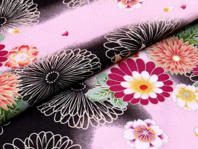 画像4: 卒業式 袴セット RKブランドの小紋の着物と【ピンク&黒、菊と桜・紅葉】シンプルな無地袴「ローズ」のセット