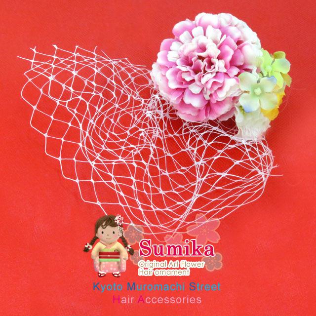 """画像1: こども髪飾り """"sumika"""" オリジナルアートフラワー髪飾り【ピンク チュール】"""