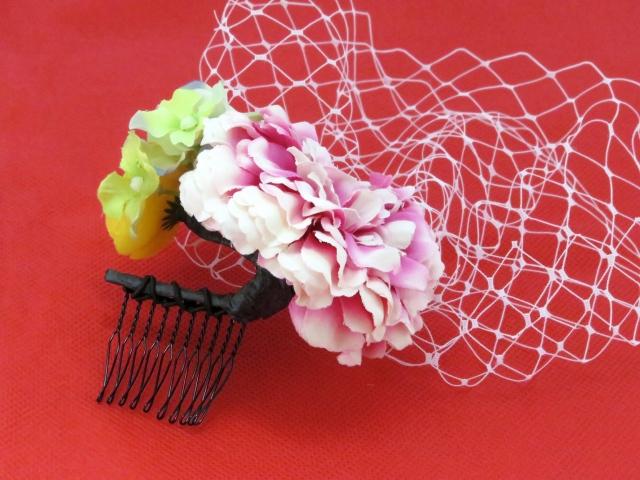 """画像3: こども髪飾り """"sumika"""" オリジナルアートフラワー髪飾り【ピンク チュール】"""