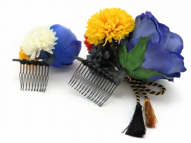 画像4: 成人式・卒業式など、フォーマルな装いに sumika オリジナルアートフラワー髪飾り 2点セット【ブルーローズ マム】