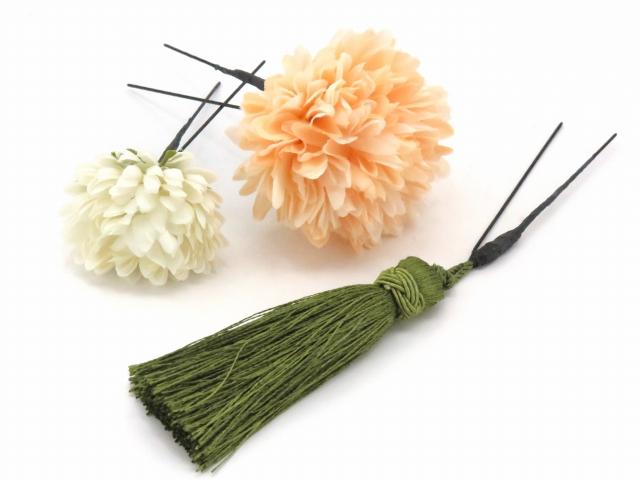 画像3: 成人式・卒業式など、フォーマルな装いに sumika オリジナルアートフラワー髪飾り 4点セット【ピンク系 マムにタッセル】
