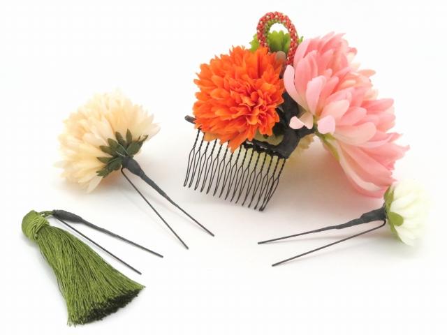 画像4: 成人式・卒業式など、フォーマルな装いに sumika オリジナルアートフラワー髪飾り 4点セット【ピンク系 マムにタッセル】