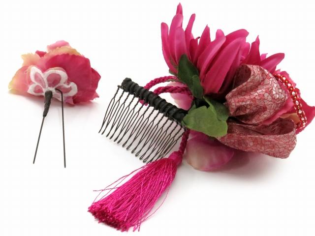 """画像4: """"紗千花"""" アートフラワー髪飾り 手作りの髪飾り 2点セット【ピンク 大花】"""