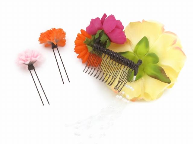 画像4: 女性用髪飾り 成人式・卒業式など、フォーマルな装いに 紗千花 手作りのアートフラワー髪飾り 3点セット【薄黄 ダリア】