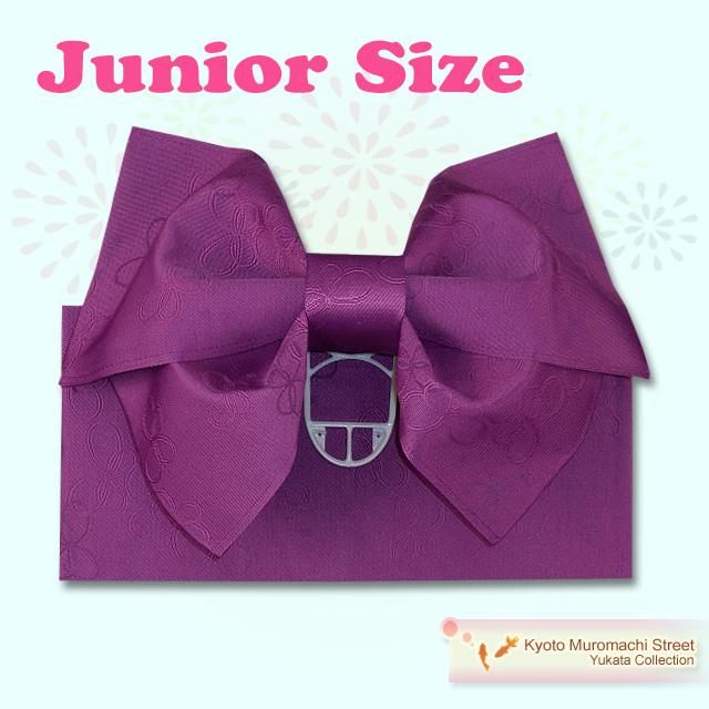 画像1: ジュニア用浴衣帯 女の子 作り帯(結び帯)【紫、蝶】