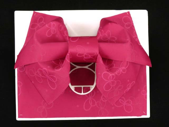画像2: ジュニア用浴衣帯 女の子 作り帯(結び帯)【ワイン、蝶】