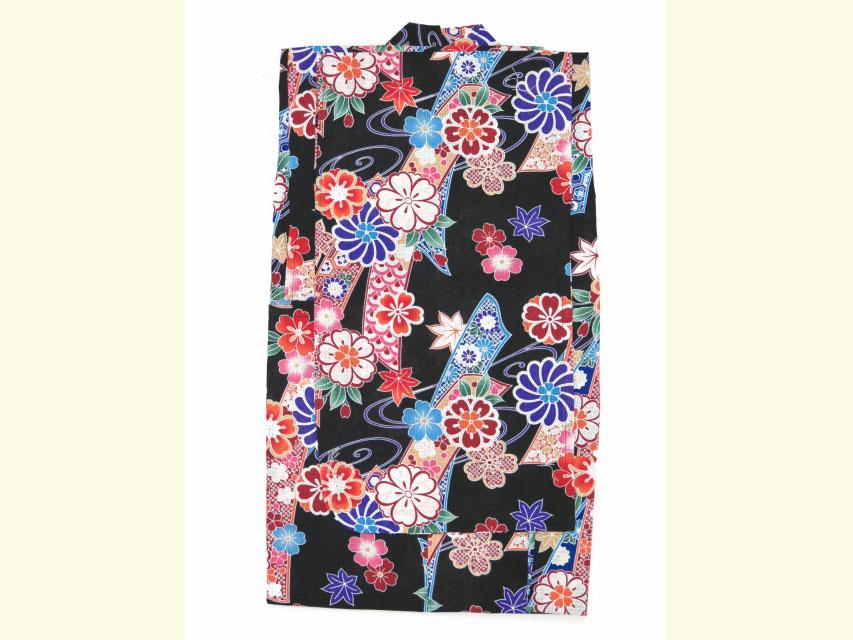 画像2: 子供浴衣  女の子 古典柄のこども浴衣 110サイズ【黒地、古典桜】