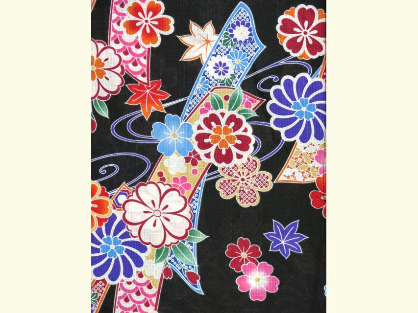 画像3: 子供浴衣  女の子 古典柄のこども浴衣 110サイズ【黒地、古典桜】