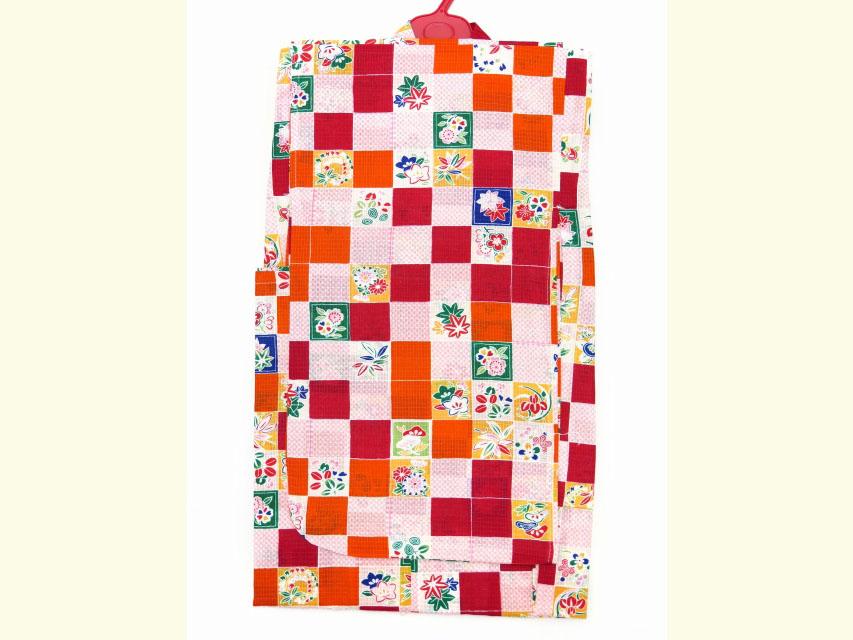 画像2: 子供浴衣 女の子 市松柄のこども浴衣 110cm【赤、オレンジ】