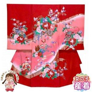 画像1: お宮参り 着物 女の子 赤ちゃんのお祝い着 産着 初着 正絹【赤、花車とオシドリ】 (1)