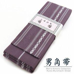 画像1: 角帯 献上柄 変わり色のメンズ角帯 綿100% 日本製 浴衣や着物に【赤紫系 献上柄】 (1)