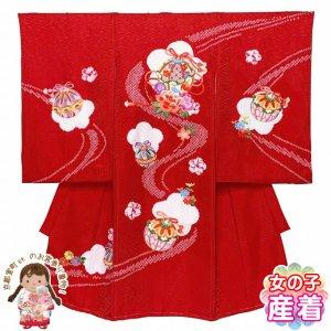 画像1: お宮参り 女の子 着物 総刺繍 本絞り 赤ちゃんのお祝い着 産着 初着 (正絹)【赤、鈴と牡丹】 (1)