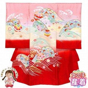 画像1: お宮参り 女の子 着物 正絹 日本製 手描き 赤ちゃんのお祝い着(初着 産着) 襦袢付き【ピンク、鞠と扇】 (1)