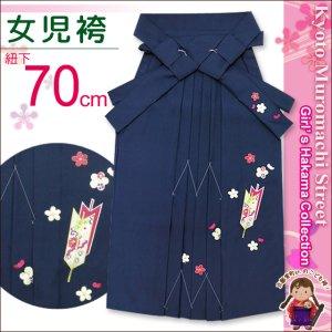 画像1: 卒園式 入学式 七五三 に 7歳女の子用 刺繍入りの子供袴【紺、矢絣と梅】 紐下丈70cm(120サイズ) (1)